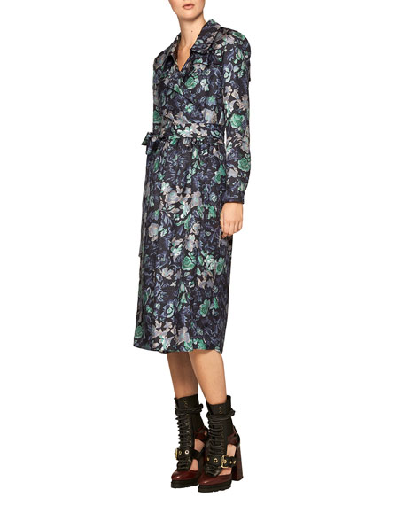 Floral-Print Silk Wrap Dress, Navy