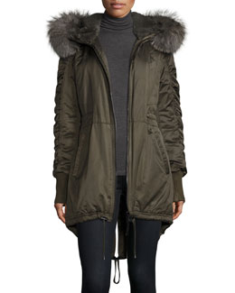 Fur-Trimmed Hooded High-Low Hem Parka, Loden