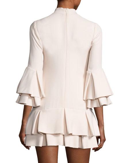 Ruffled-Trim 3/4-Sleeve Mini Dress