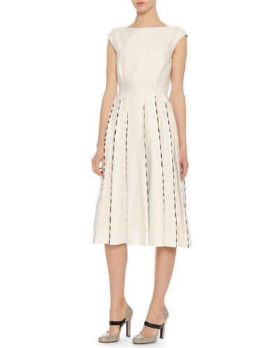 Cap-Sleeve Embroidered Linen Dress, Mist/Black
