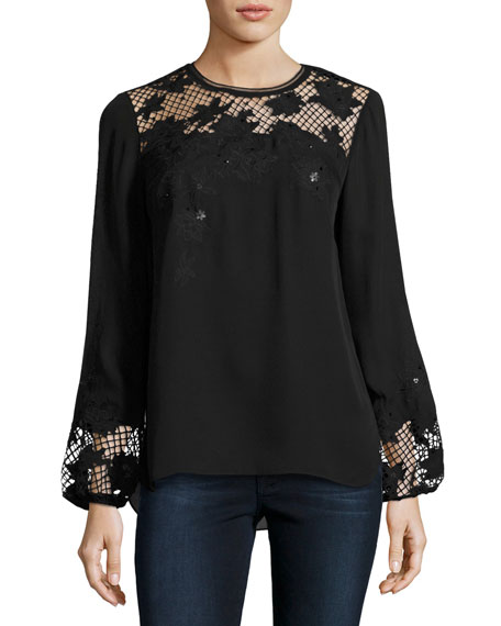 Kimber Silk Blouse w/ Mesh Yoke & Floral Appliqué, Black
