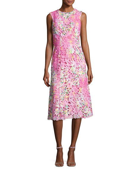 Monique Lhuillier Sleeveless Neon Lace Cocktail Dress, Pink