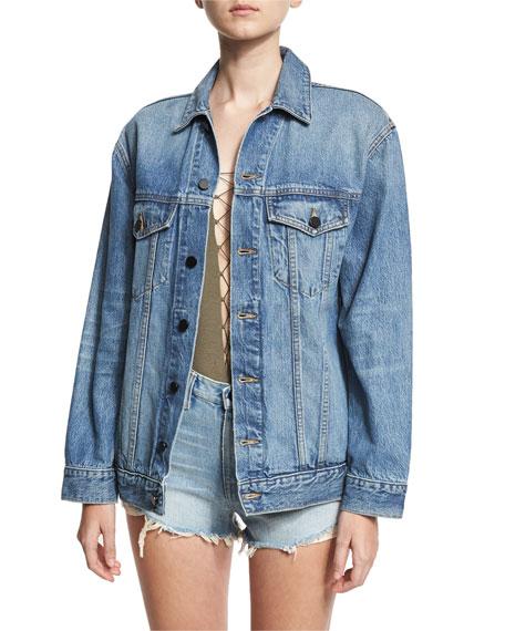 Daze Oversized Denim Jacket, Light Blue