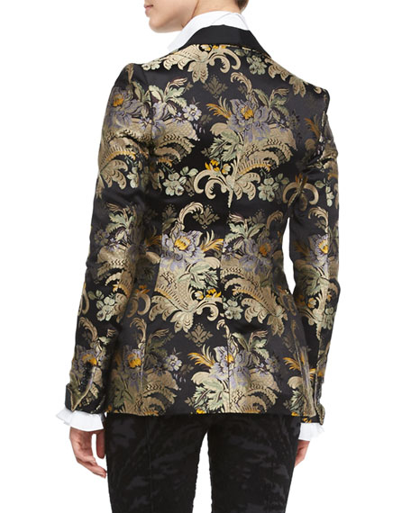 Baroque-Print Brocade Jacket, Black/Gold