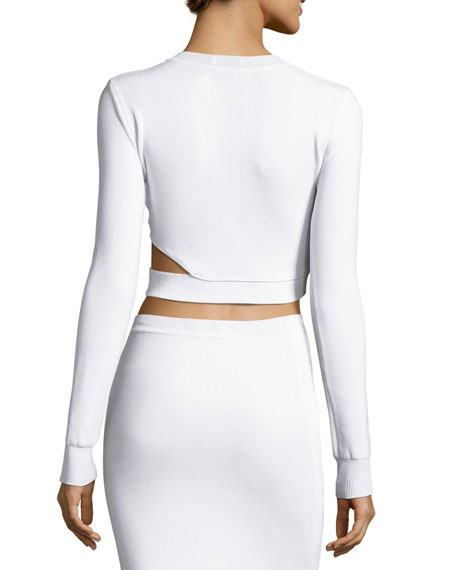 Long-Sleeve Cutout Cropped Sweater