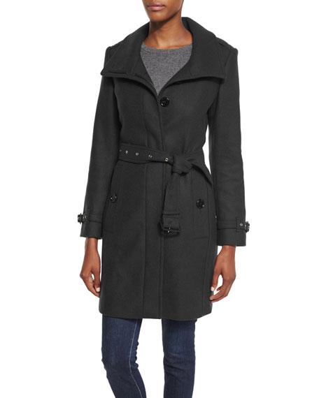 Gibbsmore Wool-Blend Single-Breasted Coat, Black