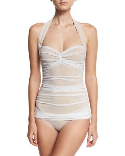 Bill Mio Halter One-Piece Swimsuit  White