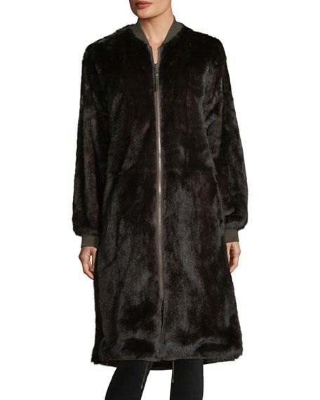 Reversible Knee-Length Fur Bomber Coat