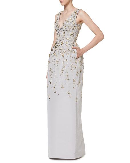Floral-Embellished Sleeveless V-Neck Gown
