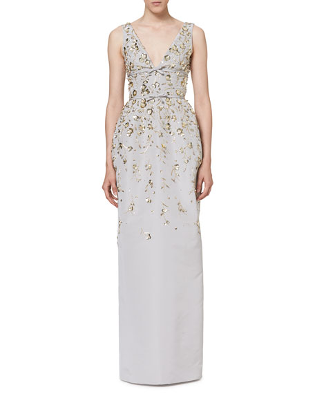 Floral-Embellished Sleeveless V-Neck Gown