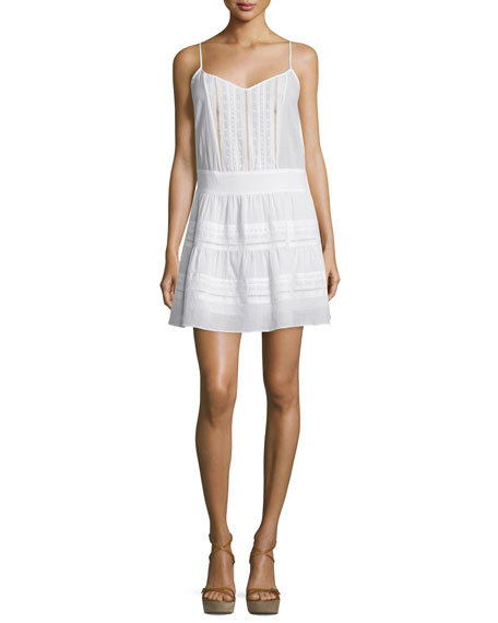 Lace Pointelle-Trim Tank Dress, Blanc