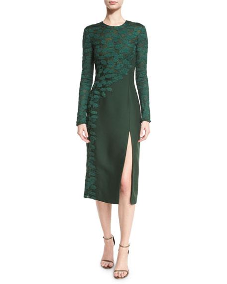 Long-Sleeve Asymmetric Lace Dress, Spruce