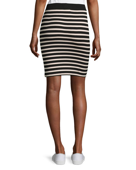 Striped Jersey Pencil Skirt