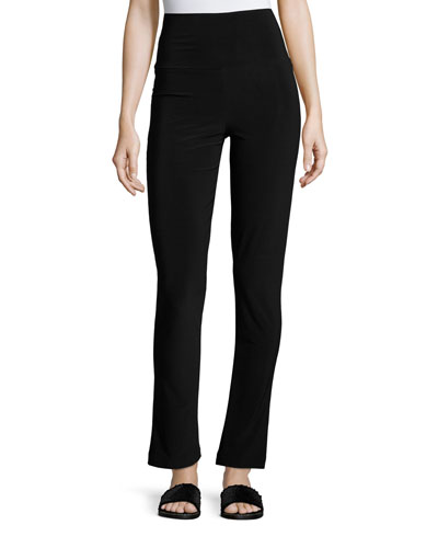 Boot-Cut High-Waist Pants  Black