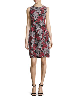 Sleeveless Graphic Lily-Print Dress, Blackberry