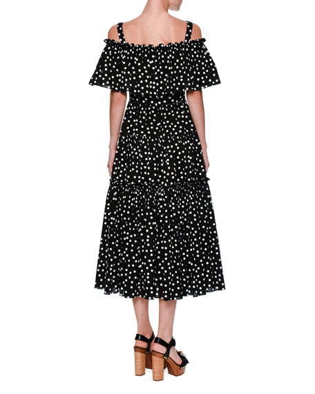 Off-Shoulder Ruffled Polka Dot Dress, Black/White
