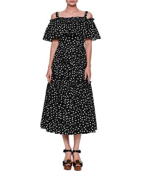 26a1553a Dolce & Gabbana Off-Shoulder Ruffled Polka Dot Dress, Black/White