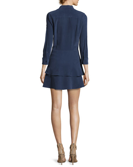 Natalia Tiered Silk Shirtdress, Peacoat