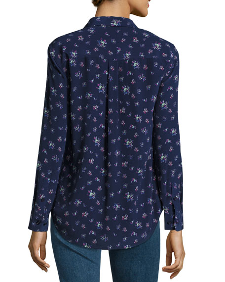 Slim Signature Floral-Print Shirt, Peacoat Multi