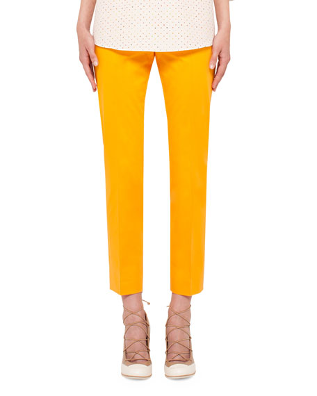 Cropped Stretch-Woven Pants, Tangerine