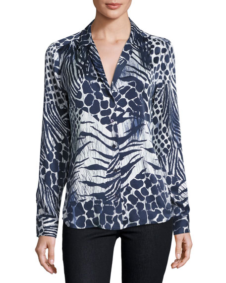 Equipment Adalyn Mixed Animal-Print Shirt, Nature White/Peacoat