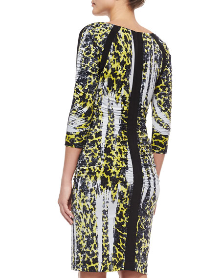 3/4-Sleeve Leopard-Print Ruched Dress