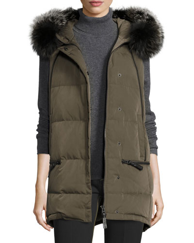 Fur-Trimmed Hooded Puffer Vest, Loden
