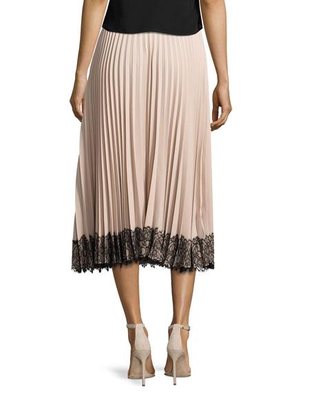 Pleated Lace-Trim Midi Skirt, Poudre