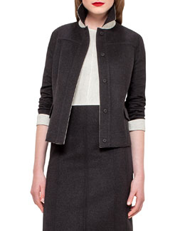 Iwanka Reversible Wool Jacket, Black/Moonstone