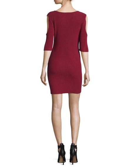Josefina Cold-Shoulder Ribbed Dress