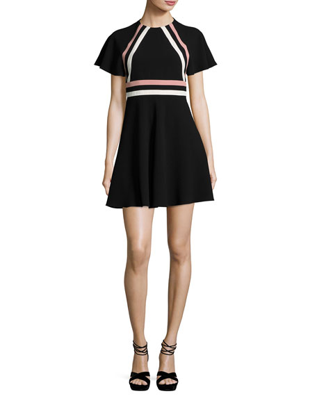 RED Valentino Short-Sleeve Striped Crepe Dress, Nero/Cipria/Panna