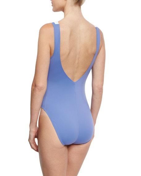 Santorini Lace-Up Front One-Piece Swimsuit, Bleached Denim