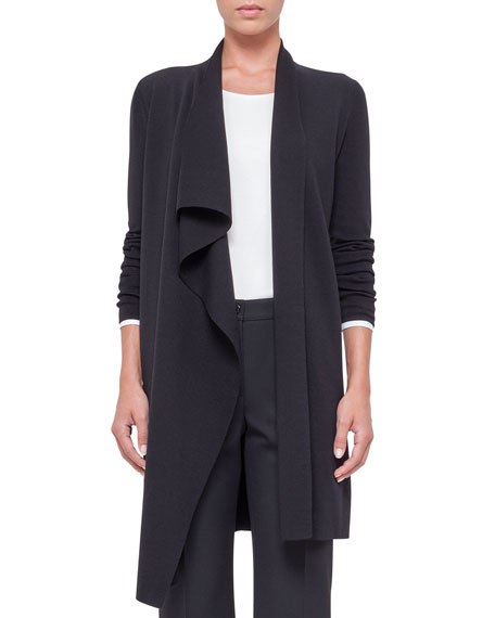 Long-Sleeve Ruffle-Front Cardigan, Black