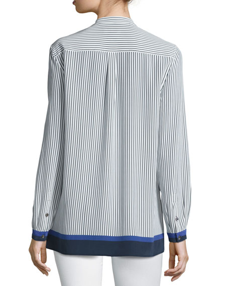 Fisher Striped Colorblock Shirt, Riviera Blue