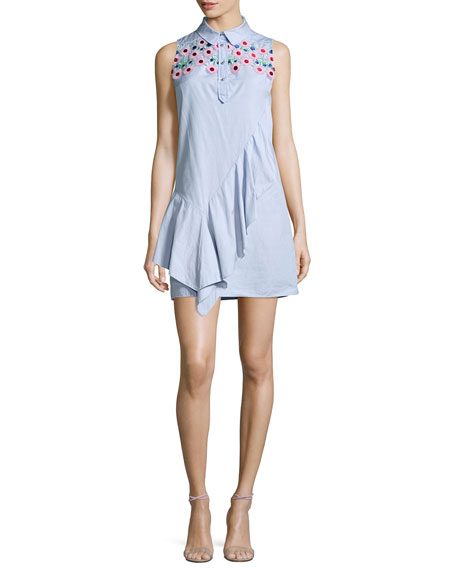 Sleeveless Lace-Yoke Chambray Shirtdress, Sky Blue