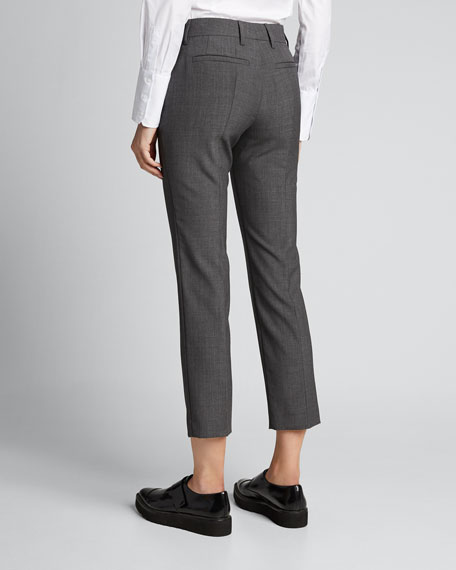 Virgin Wool Straight Cropped Pants