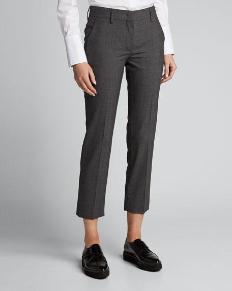 Virgin Wool Straight Cropped Pants