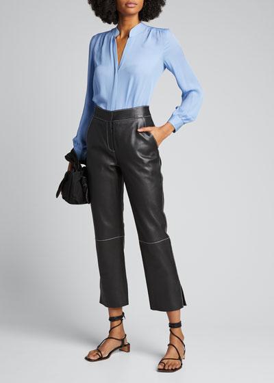 Bianca Band-Collar Silk Blouse
