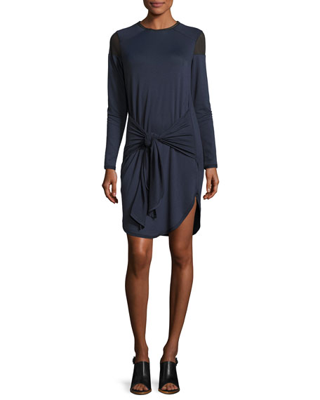 Teddi Mesh-Trim Tie-Waist Jersey Dress, Blue