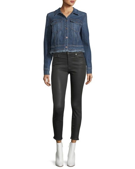 The Ankle Skinny Destroyed Jeans w/Sequins