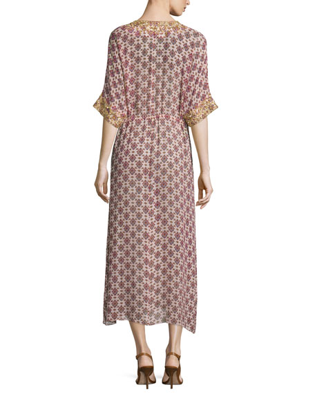 Calista Medallion-Print Silk Dress, Thalie Floral