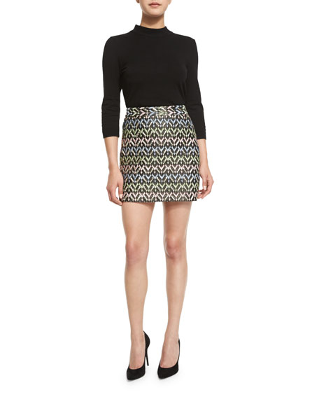 A-Line Chevron Brocade Modern Mini Skirt, Multi