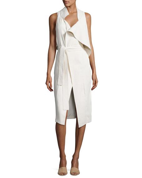 Halston Heritage Asymmetric Sleeveless Mock-Neck Draped Dress w/
