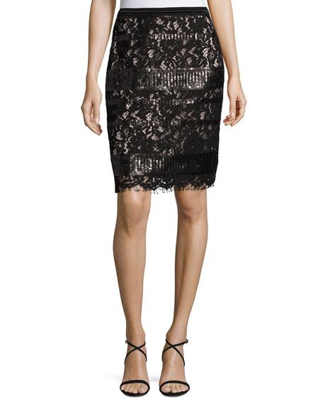 Elie Tahari Violet Sequined Lace Pencil Skirt, Black