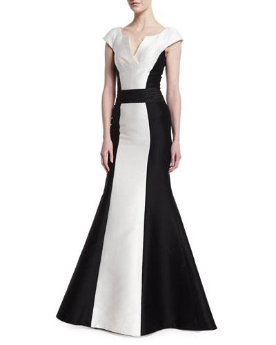 Cap-Sleeve Tuxedo Colorblock Gown
