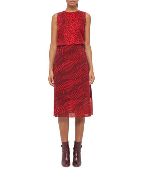 Akris Zebra-Print A-Line Midi Skirt, Pomegranate