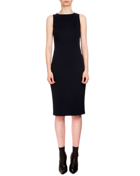 Sleeveless Techno Jersey Sheath Dress, Navy