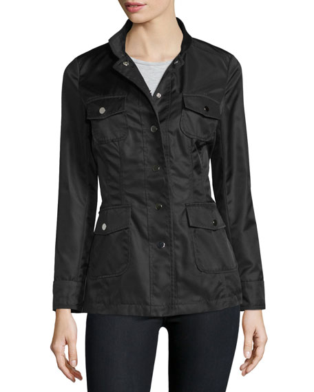 Jane Post High-Neck Snap-Front Jacket, Camo