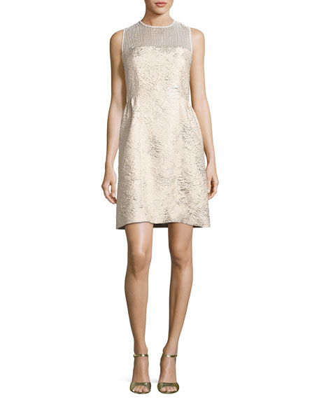 Elie Tahari Winny Sleeveless Textured Dress, Gold
