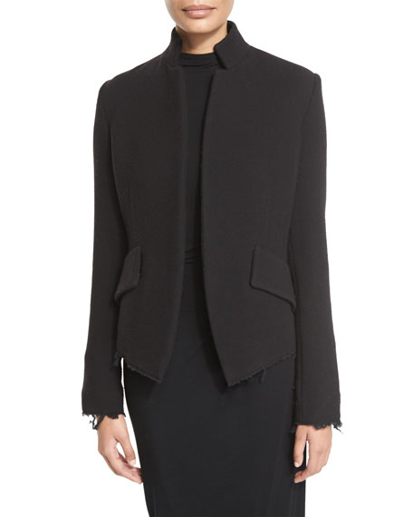 Raw-Edge Wool-Blend Jacket, Black
